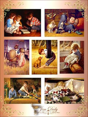 collage de imágenes vintage de niños