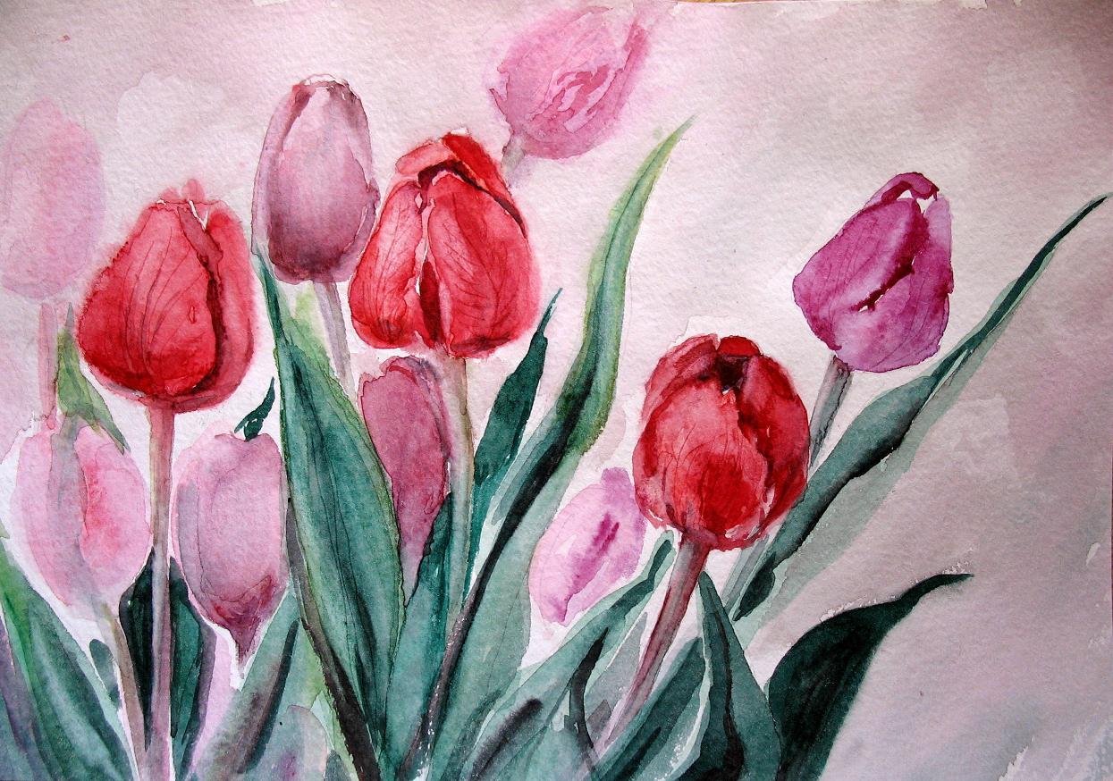 Цветок нарисованный гуашью фото