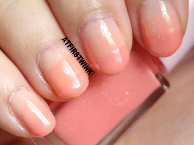 Etude House Juicy Cocktail gradation nails no. 7 - Peach Crush (nail polish 3 bright peach close up)