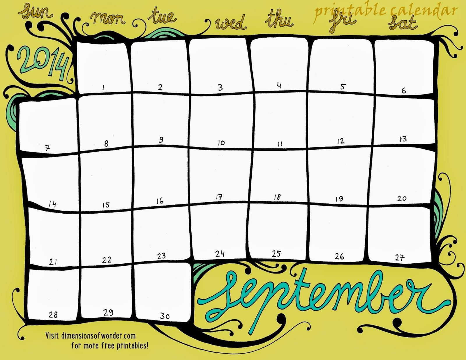 Printables Calendar September : Free printable calendar september