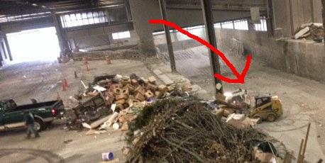 Jackhammer at work in the Transfer Station trash pit