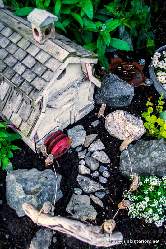 outdoor farm styled fairy garden via Funky Junk Interiors