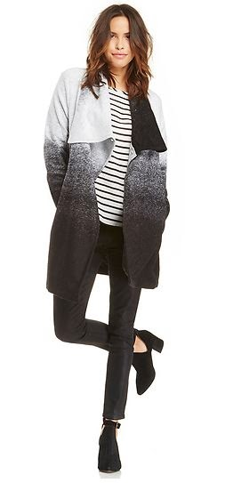 Danton Coat from BB Dakota, black and white ombre coat