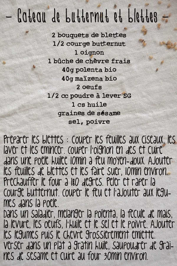 recette cake blettes courge butternut