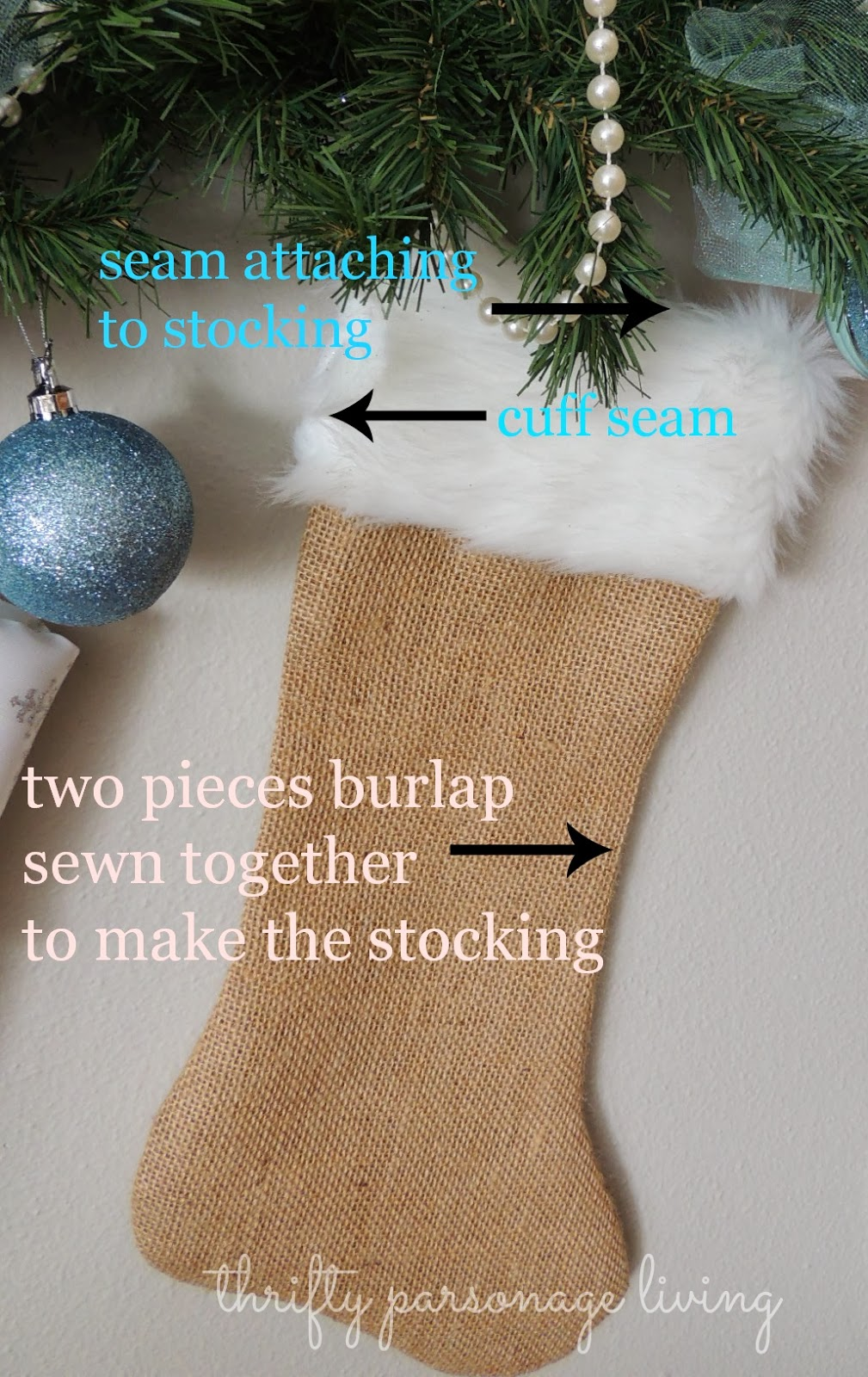 thrifty parsonage living diy faux fur christmas projects fur here s what i did i took out an old stocking from previous christmases burlap and fur fabric laying my burlap out flat i simply used my stocking as a