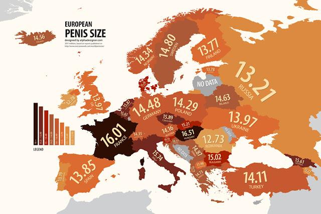 Cartes des stéréotypes sur la taille des  penis