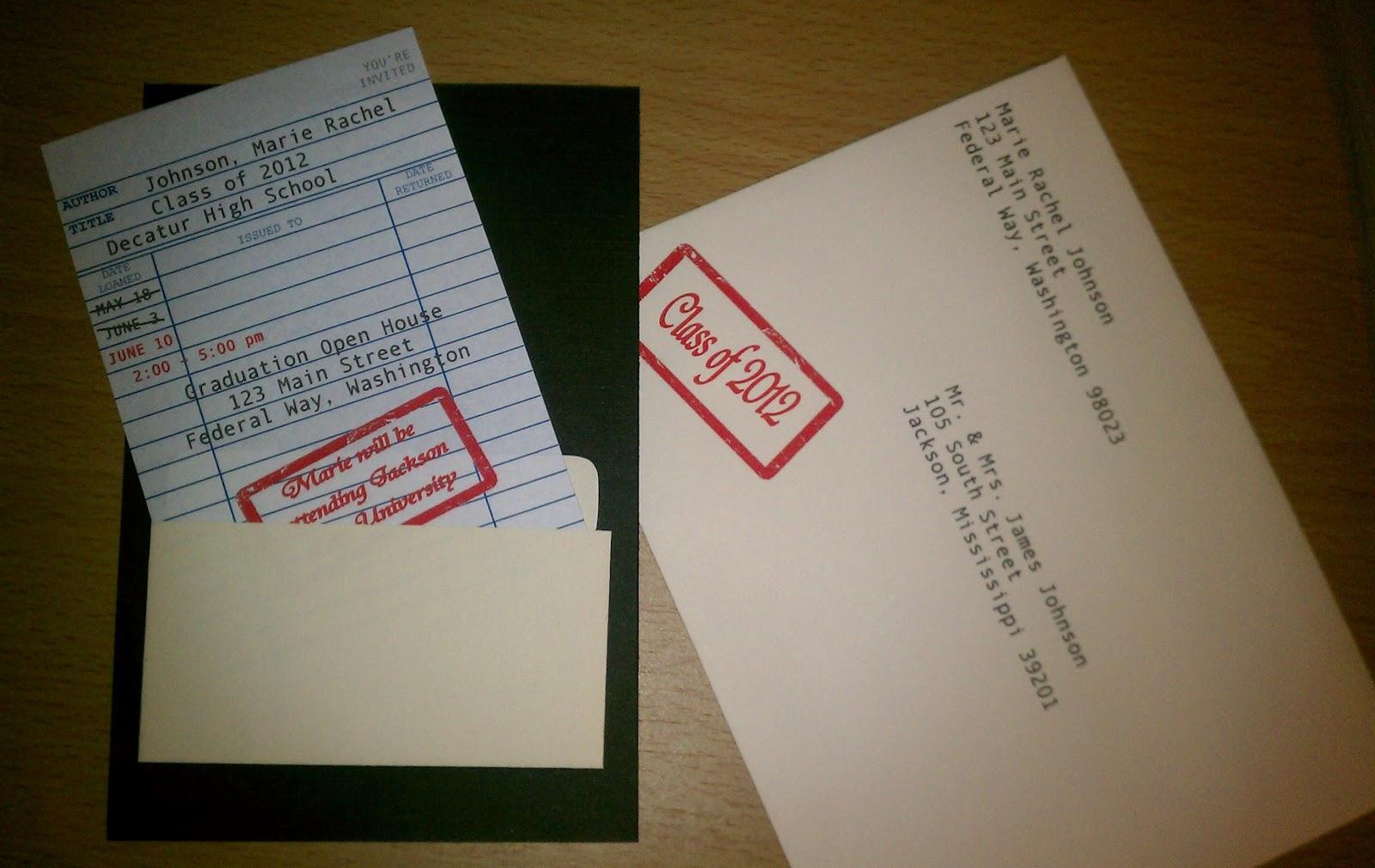 IMAG2080 erika nichole library card graduation invitation,Graduation Invitation Envelopes