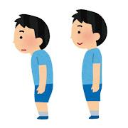 姿勢の悪い・姿勢の良い男の子のイラスト