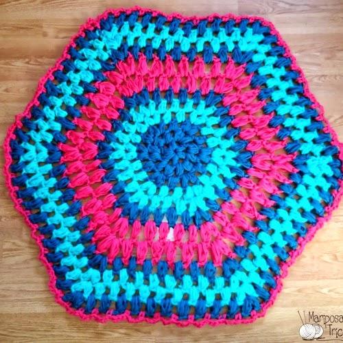 Patrones trapillo alfombra hexagonal de trapillo - Alfombra de trapillo cuadrada ...