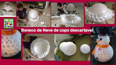 PAP boneco de neve de copos plásticos - foto Fika a Dika