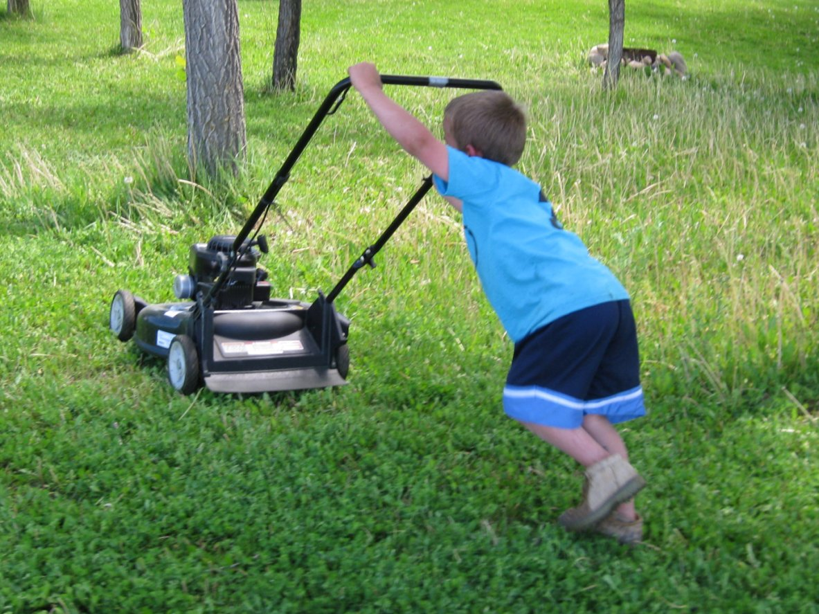 A little peace in paradise junior joseph the lawn mowing man for Lawn mower cutting grass