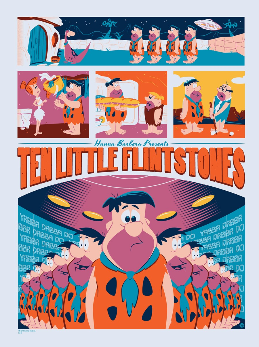 "Mondo x Hanna-Barbera Screen Print Series - ""Ten Little Flintstones"" by Dave Perillo"