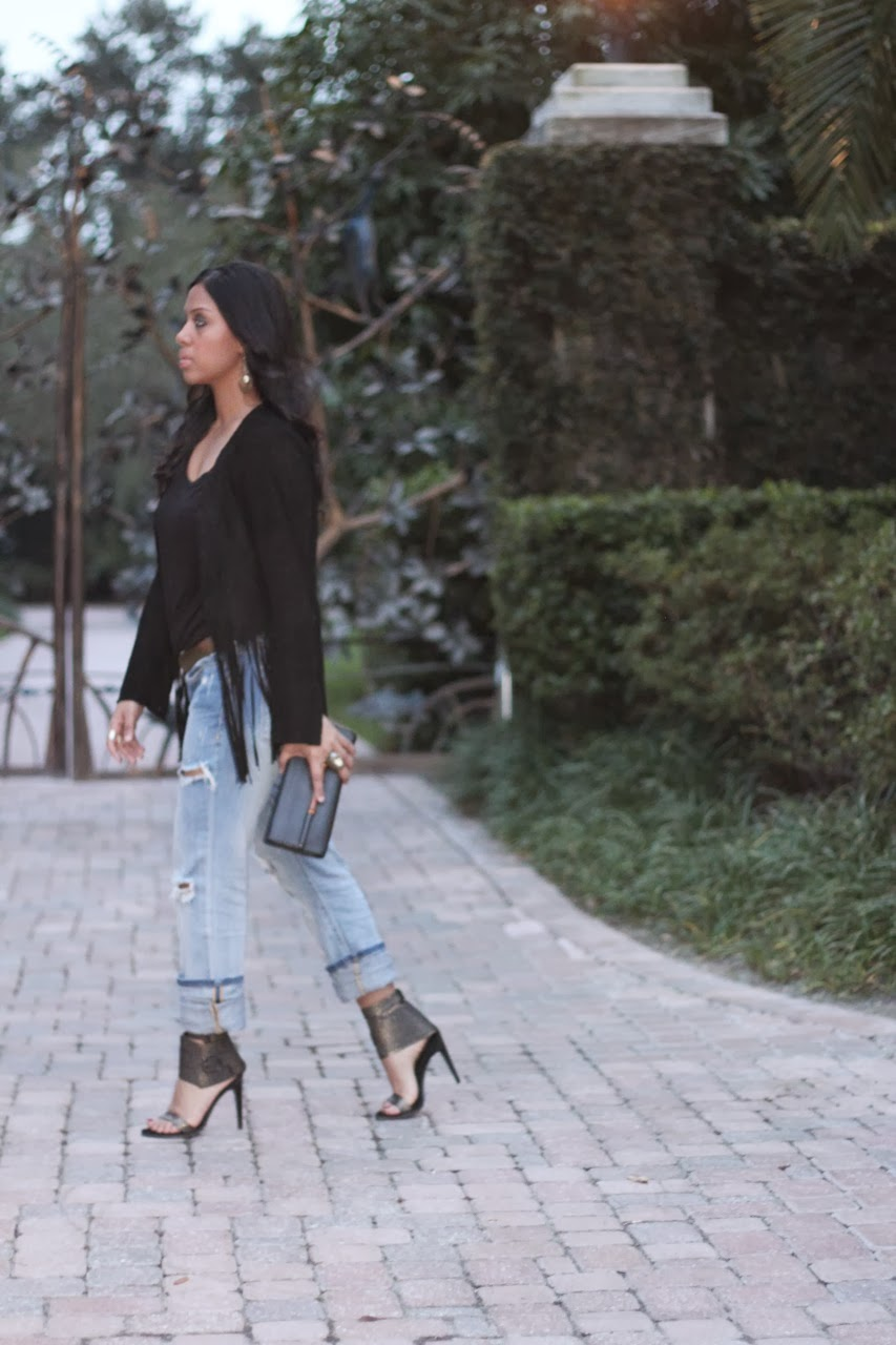 black fringe jacket distressed boyfriend jeans tibi riley shoes gucci bamboo clutch