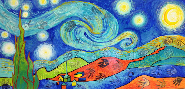 Candice ashment art what is hiding in our starry night for Artists who use shapes in their paintings
