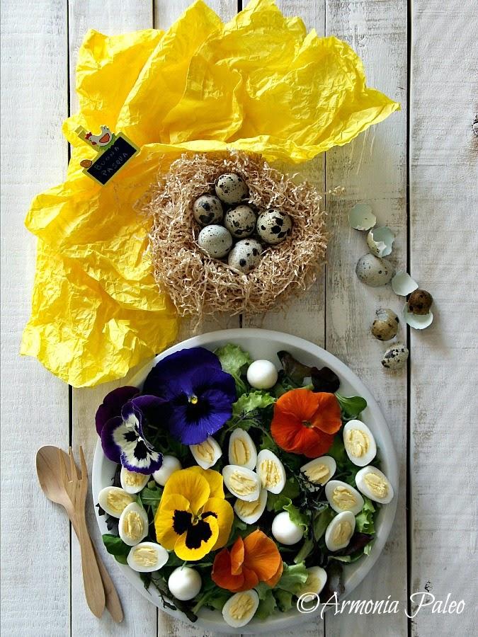Insalata di Primavera con Fiori e Uova di Quaglia di Armonia Paleo