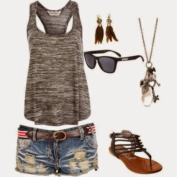 Grey Singlet With Denim Shorts