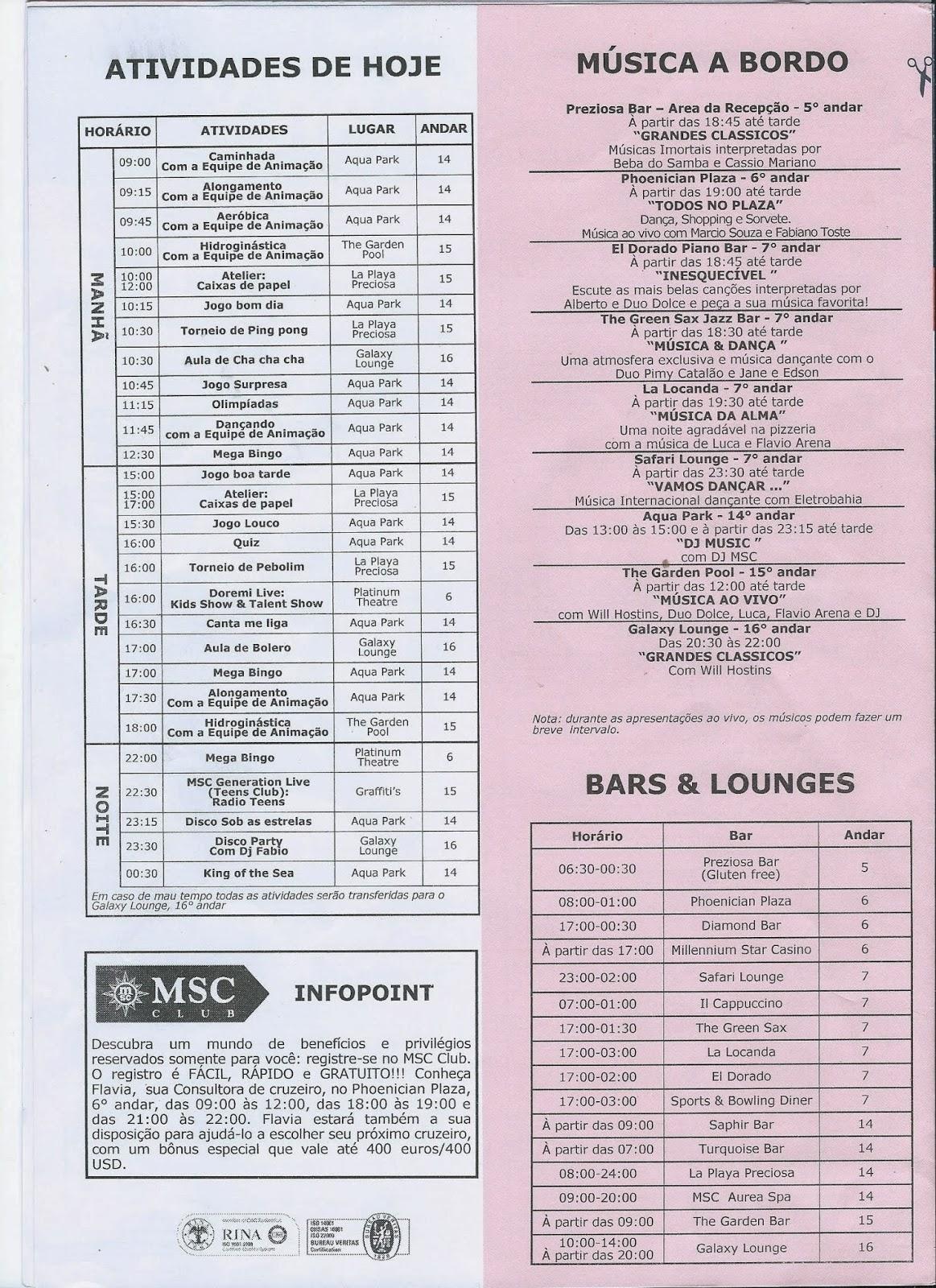 Diário de Bordo do MSC Preziosa - página 4