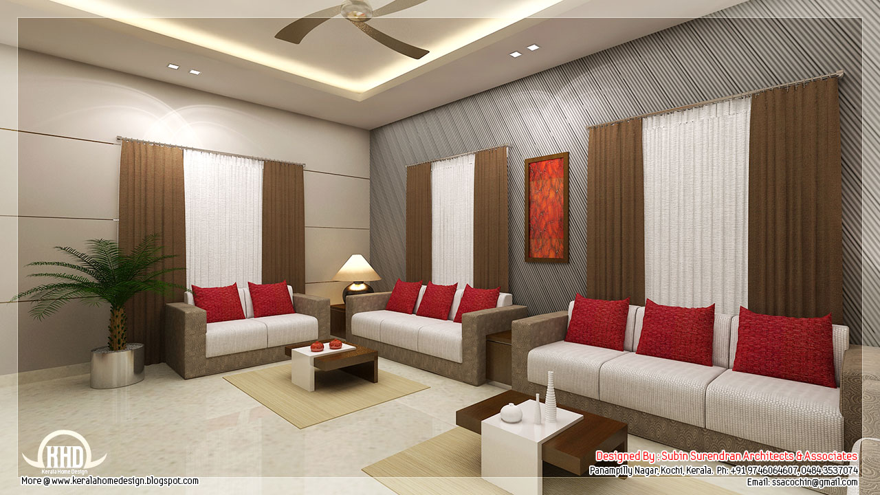 Awesome 3d interior renderings kerala home for Living room design ideas kerala