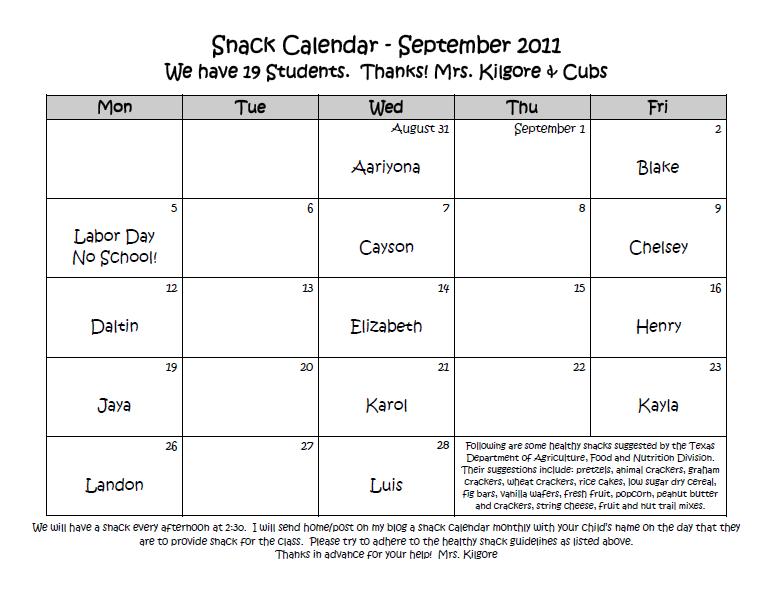 kindergarten reading homework calendar