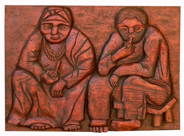 Escultura Casal Pretos Véios - Entalhe