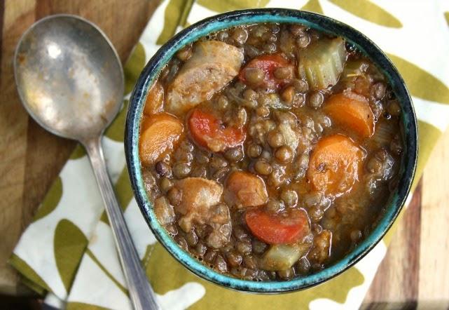 lentil sausage vegetable soup from Ina Garten