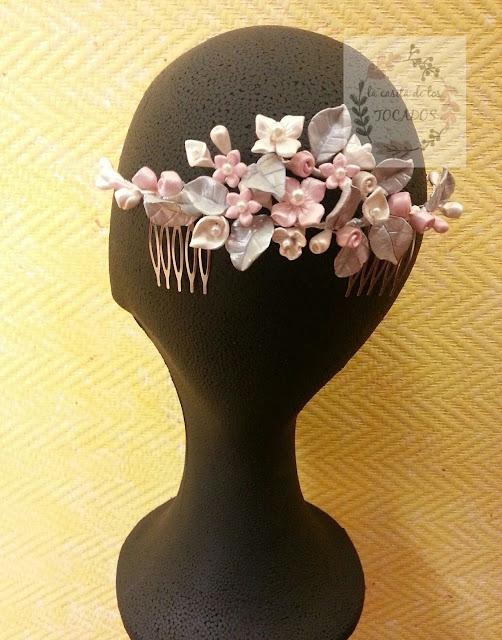 tocado para novia vintage realizado en porcelana de forma artesanal