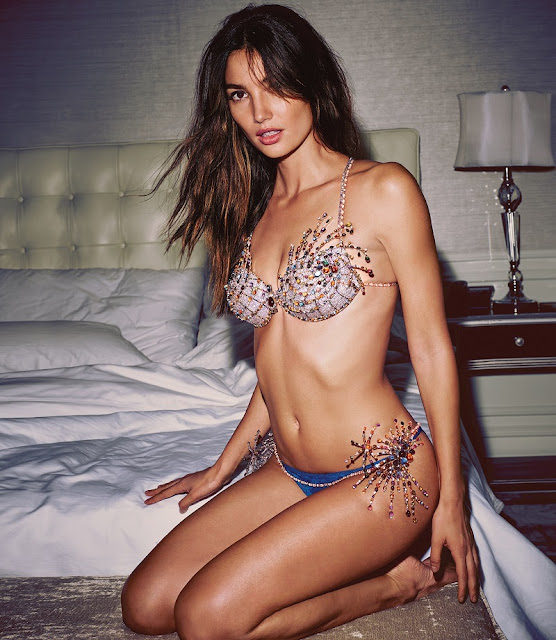 Lily Aldridge in the $2 Million Fireworks Fantasy Bra & Detachable Belt