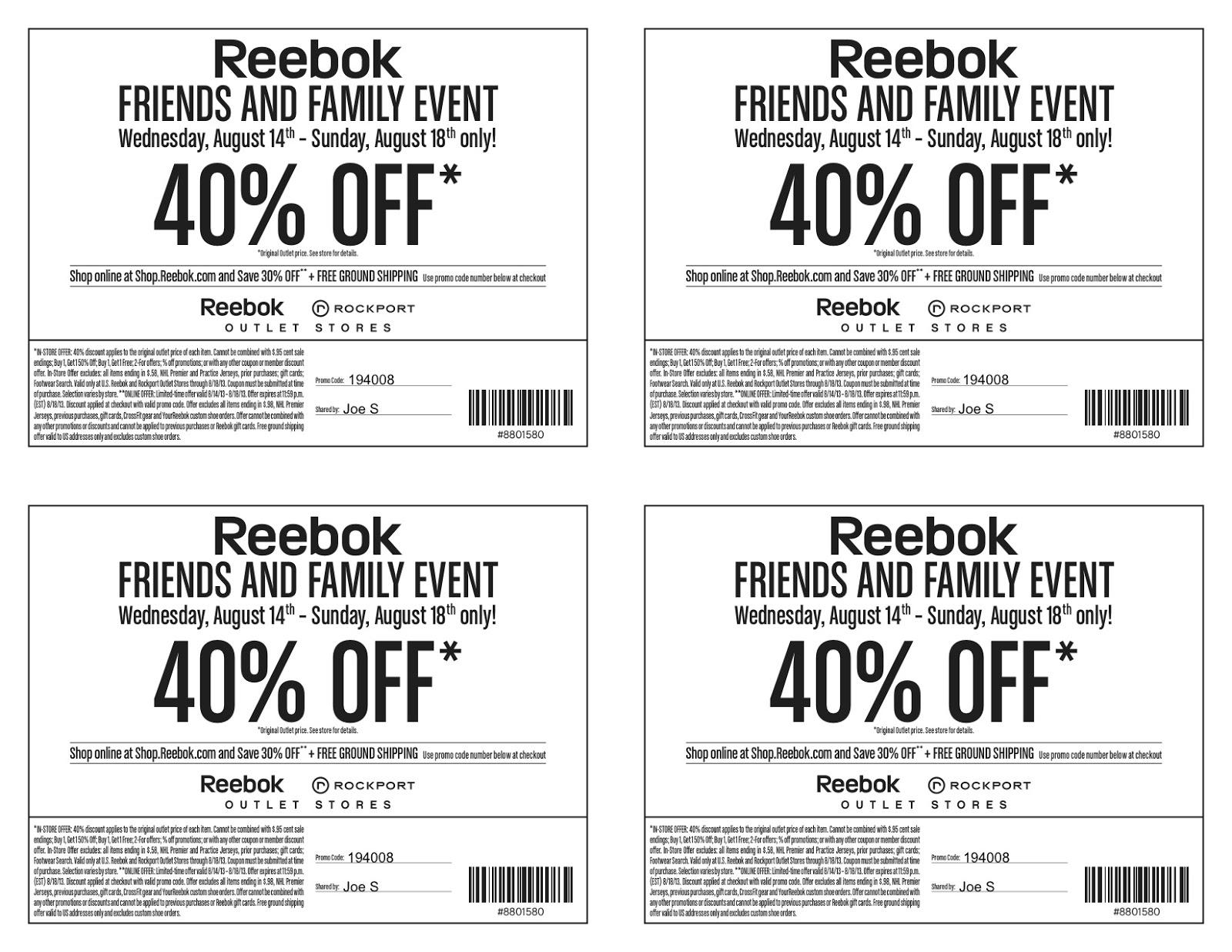 Reebok coupon codes