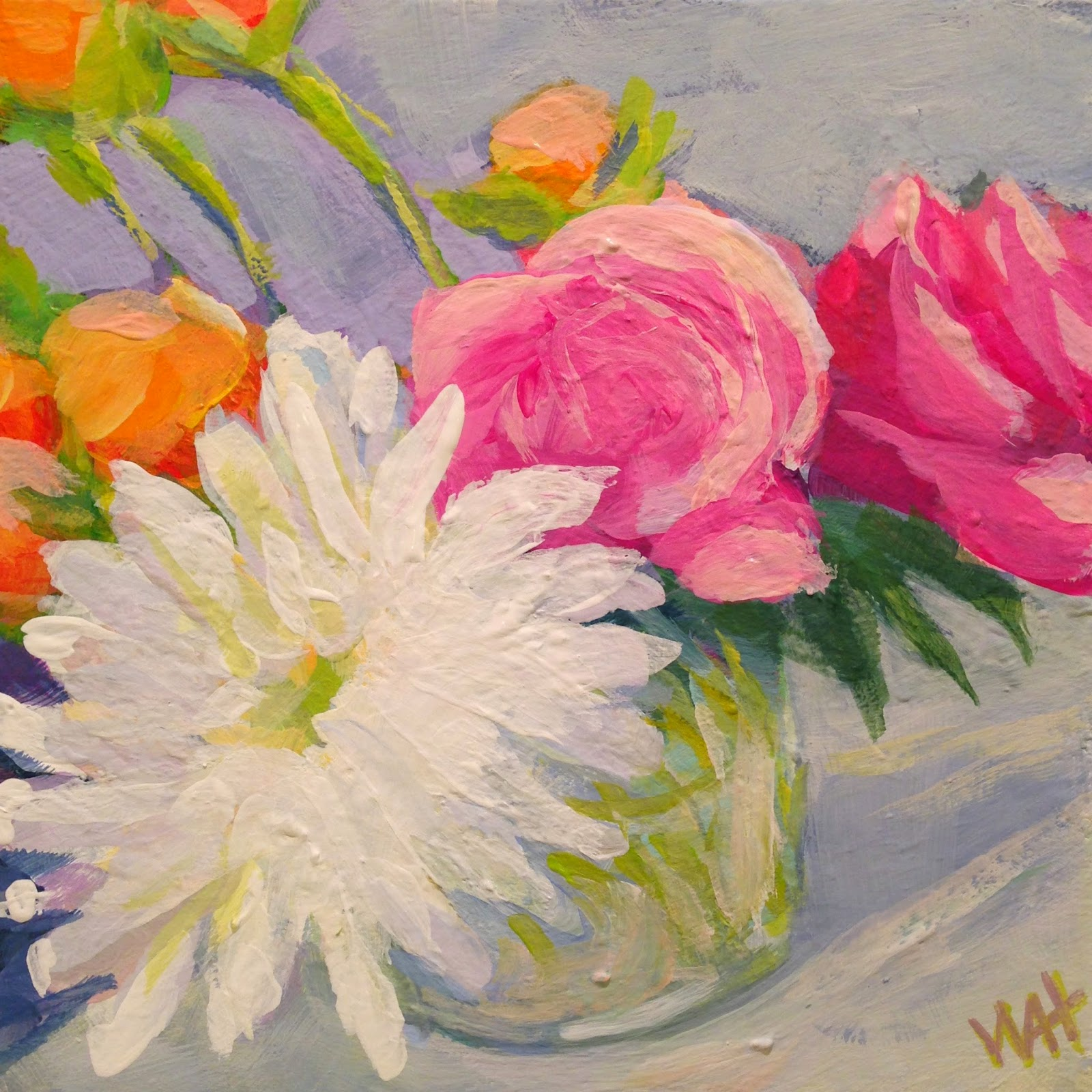 square painting of roses and chrysanthemums and ranunculus