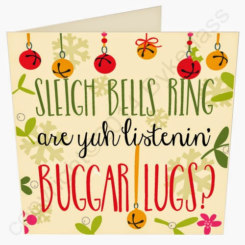 Sleigh Bells Ring Buggar Lugs Christmas Card by Wotmalike