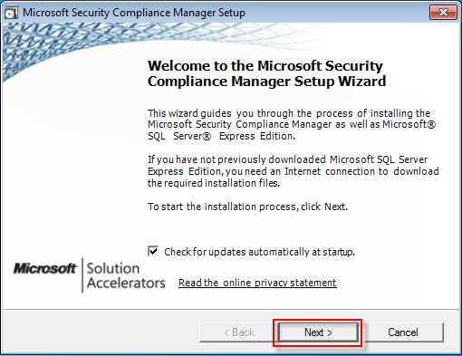 02 security compliance manager welcome screen