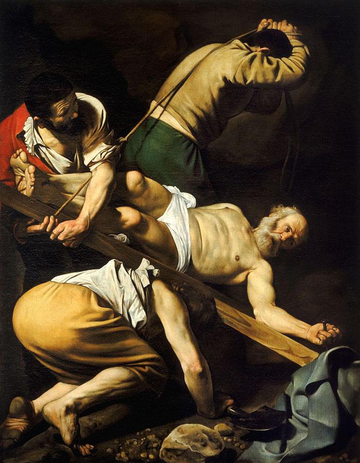A crucificação de São Pedro por Caravaggio.