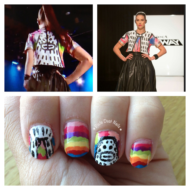 Psychedelic Yeti Nail Art inspired by a look by Amanda and Kini in Project Runway's season 13