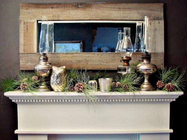 Blue roof cabin christmas mantel decor