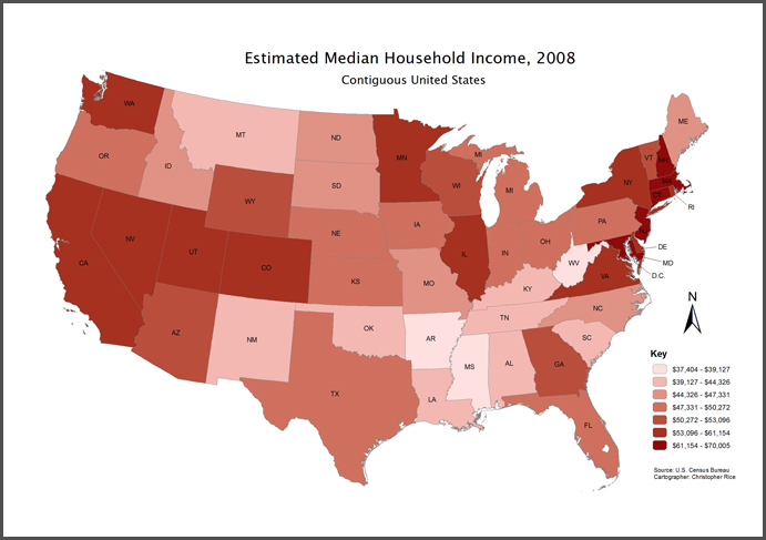 for example in the map above taken from colorado cartographics ltd the estimated household income for the 48 contiguous united states