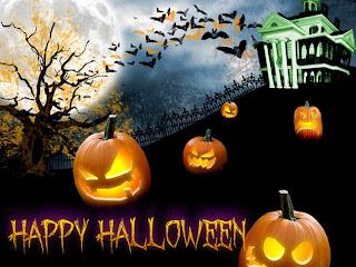 imagen con calabazas y murcielagos de halloween