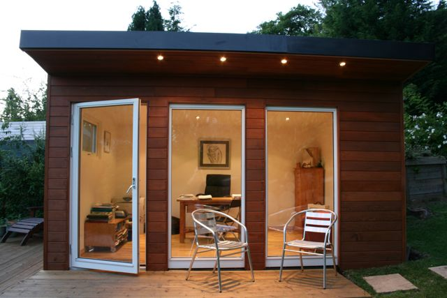 Refresheddesigns 11 reasons to turn a garden shed into for Outside office shed