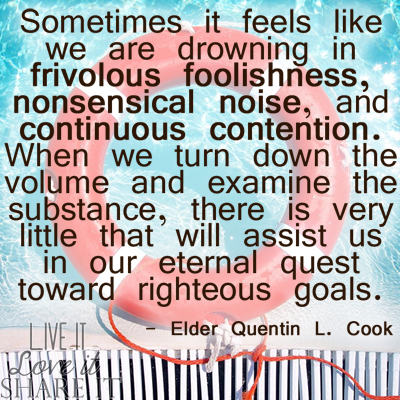 Sometimes it feels like we are drowning in frivolous foolishness, nonsensical noise, and continuous contention. When we turn down the volume and examine the substance, there is very little that will assist us in our eternal quest toward righteous goals. - Quentin L. Cook