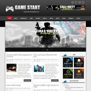 Game Start blogger template. download games news template for blogger