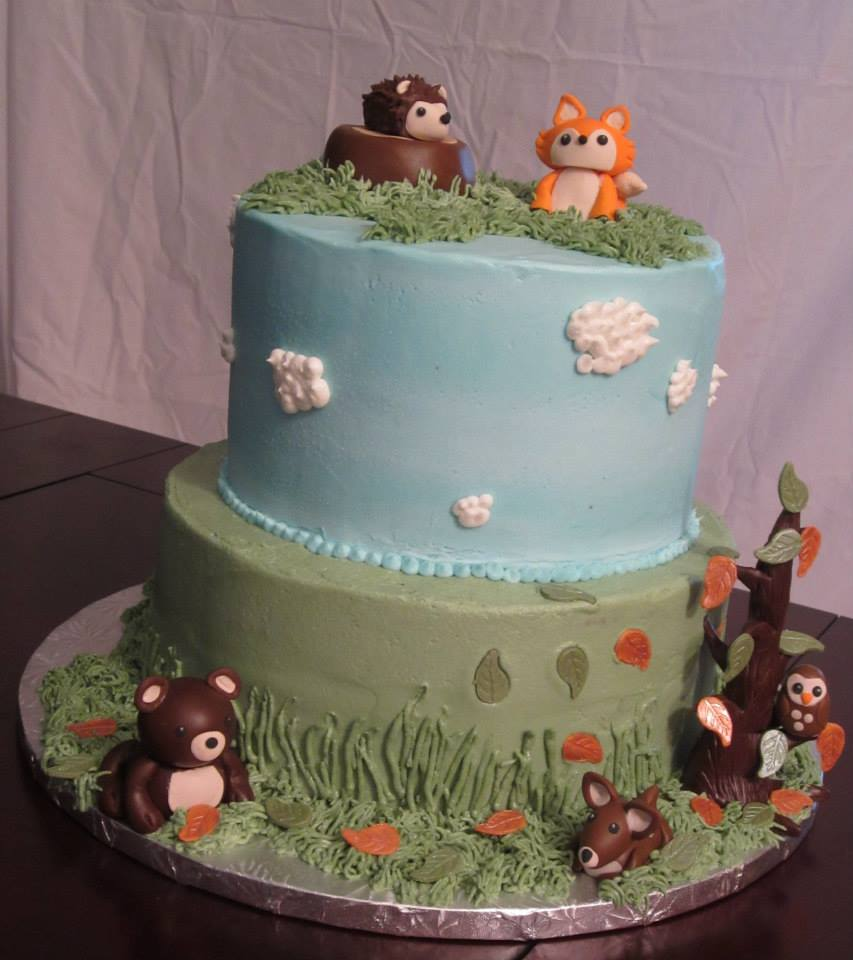 cakes woodland creatures baby shower cake