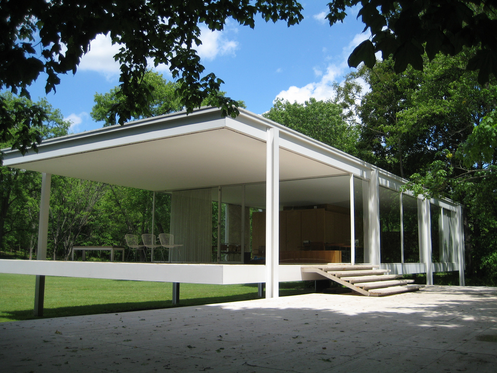 Philobiodesign mies van der rohe farnsworth house for Style de maison moderne