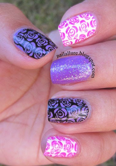 Lilac & Pink Roses Nail Art Manicure