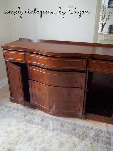 painted, before, after, mahogany,antique,sideboard,buffet,ascp,french linen,old white