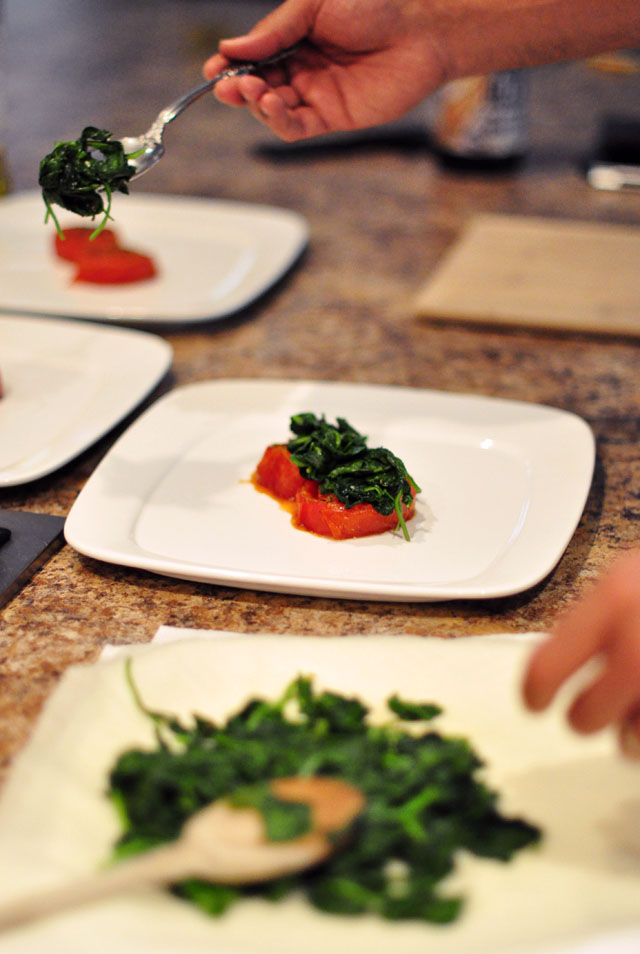roasted tomatoes with spinach