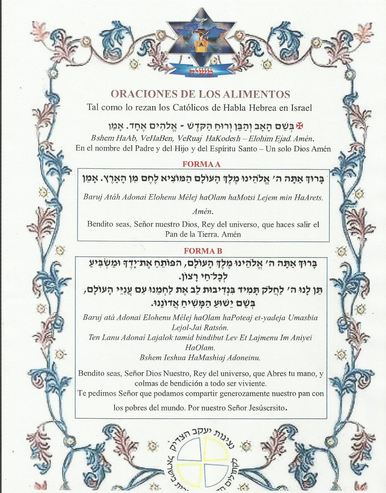 ORACIONES DE LOS ALIMENTOS EN HEBREO