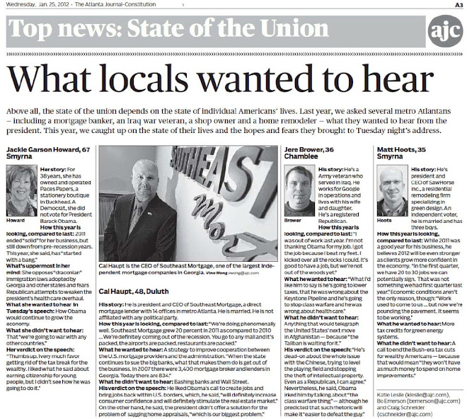 "AJC - State of the Union ""What locals wanted to hear"" Cal Haupt"
