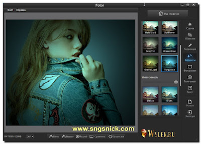 Fotor 2.0.3 - Инструмент Эффекты - пример выбора фильтра