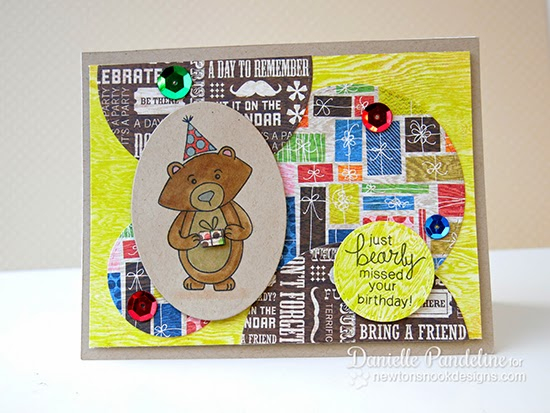 Winston's Birthday Bear Card by Danielle Pandeline for Newton's Nook Designs