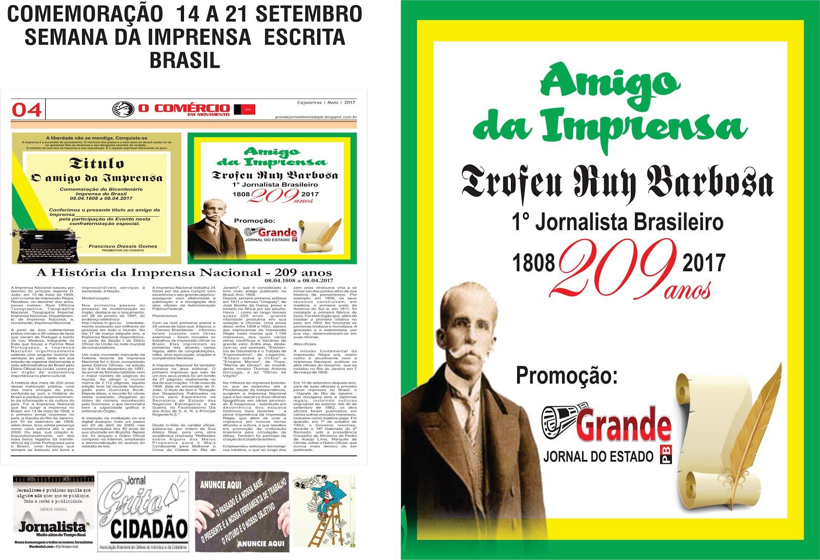 JORNAL DO COMÉRCIO PARABENIZA A IMPRENSA DO BRASIL NOS 209 ANOS