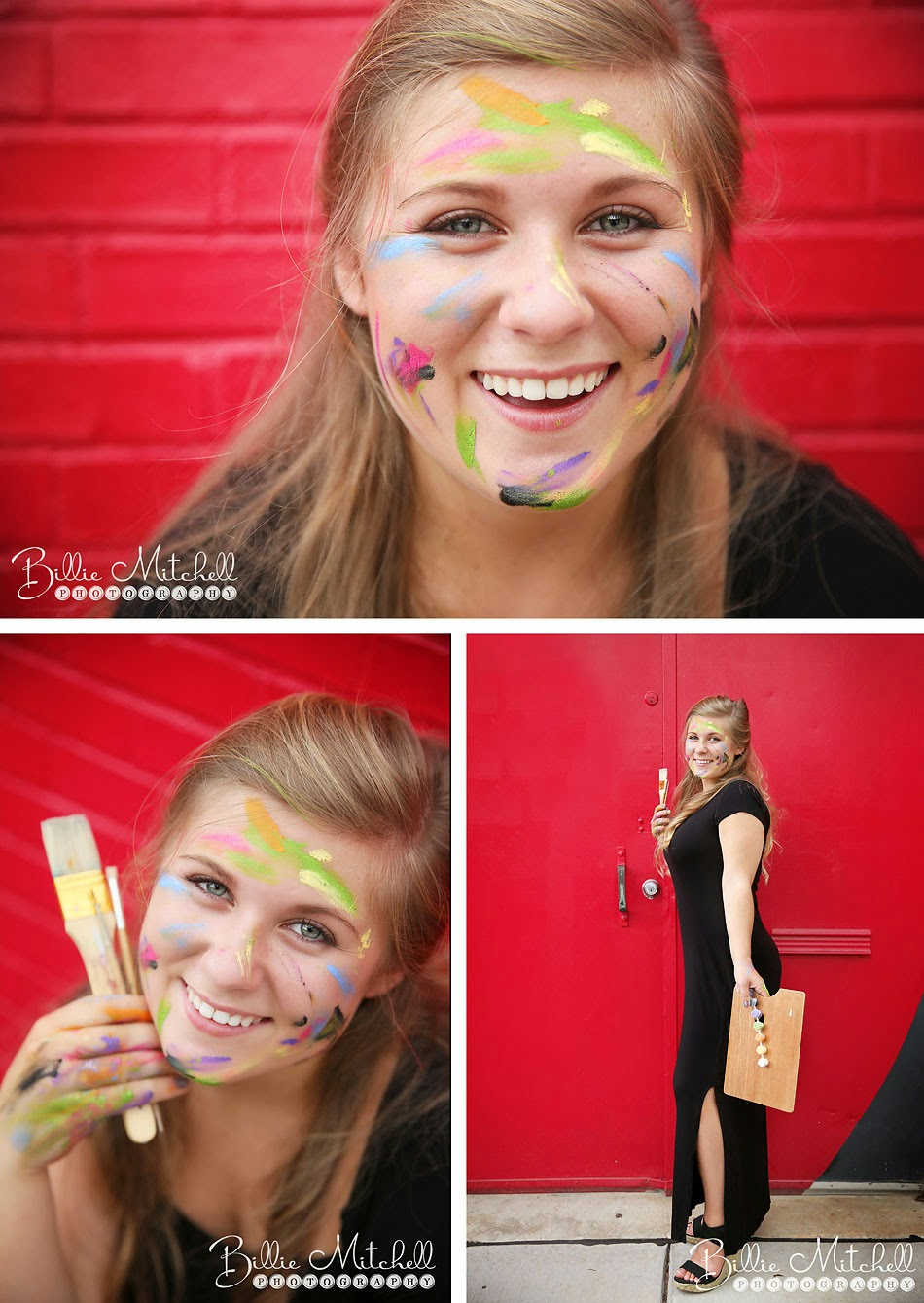 teen blonde girl with paint on face and paint brushes in her hand